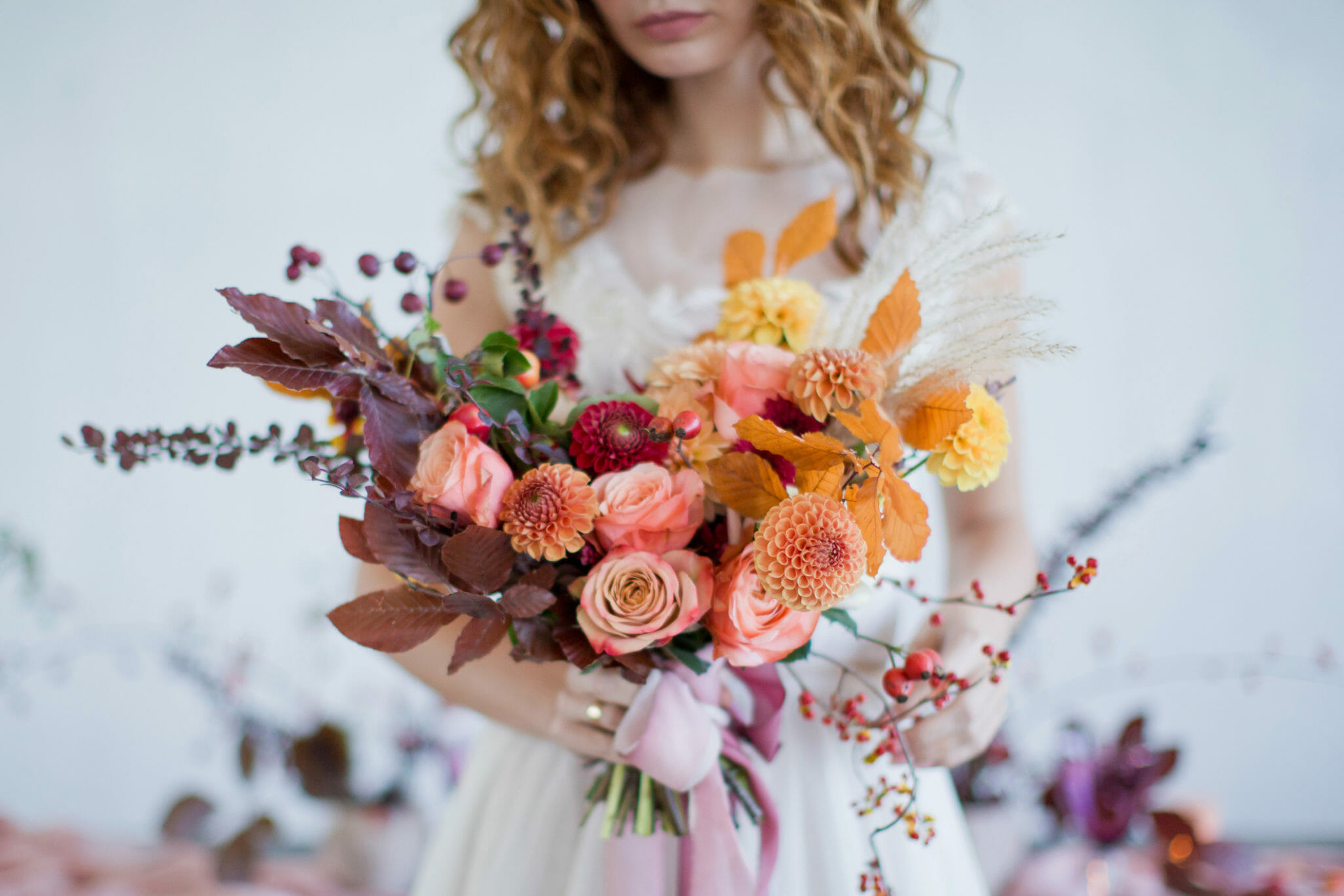 Indie Bride with Bouquet